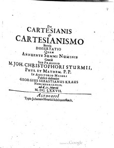 De Cartesianis & Cartesianismo Brevis Dissertatio